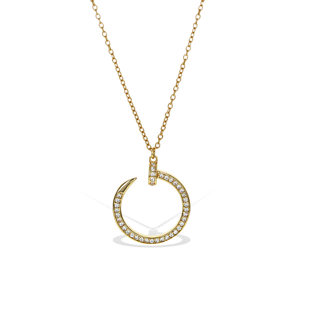 Alexandra Marks | Curved Nail Head Cz Necklace in Gold