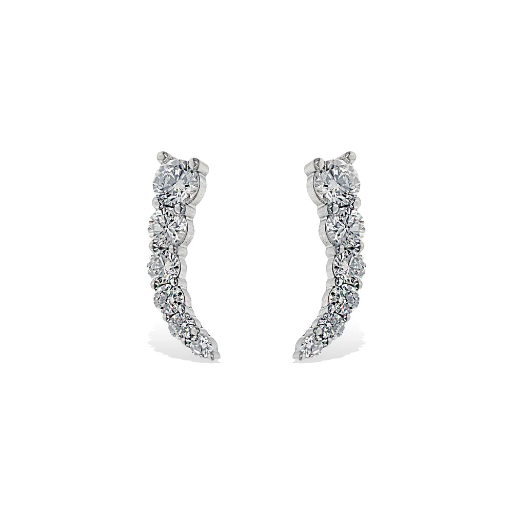 Alexandra Marks | Curved CZ Earring Climber in Sterling Silver