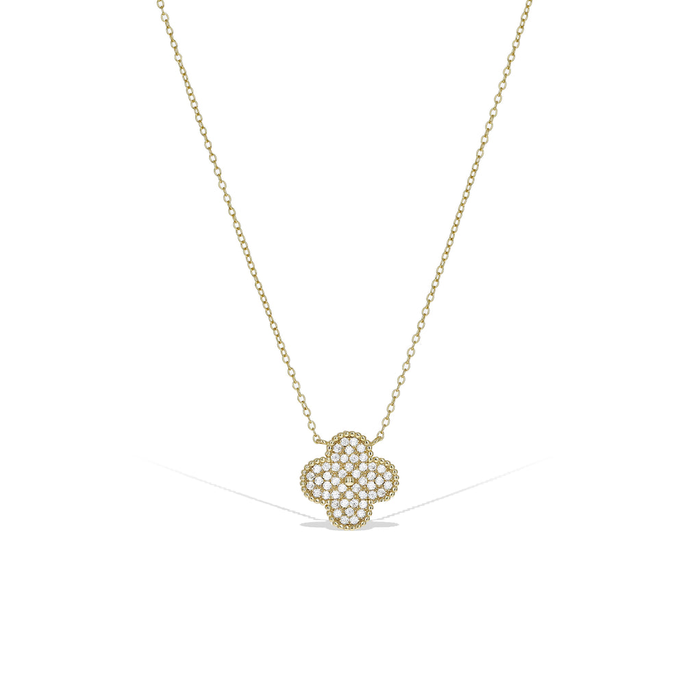 Load image into Gallery viewer, Alexandra Marks | Gold Designer Cz Clover Necklace