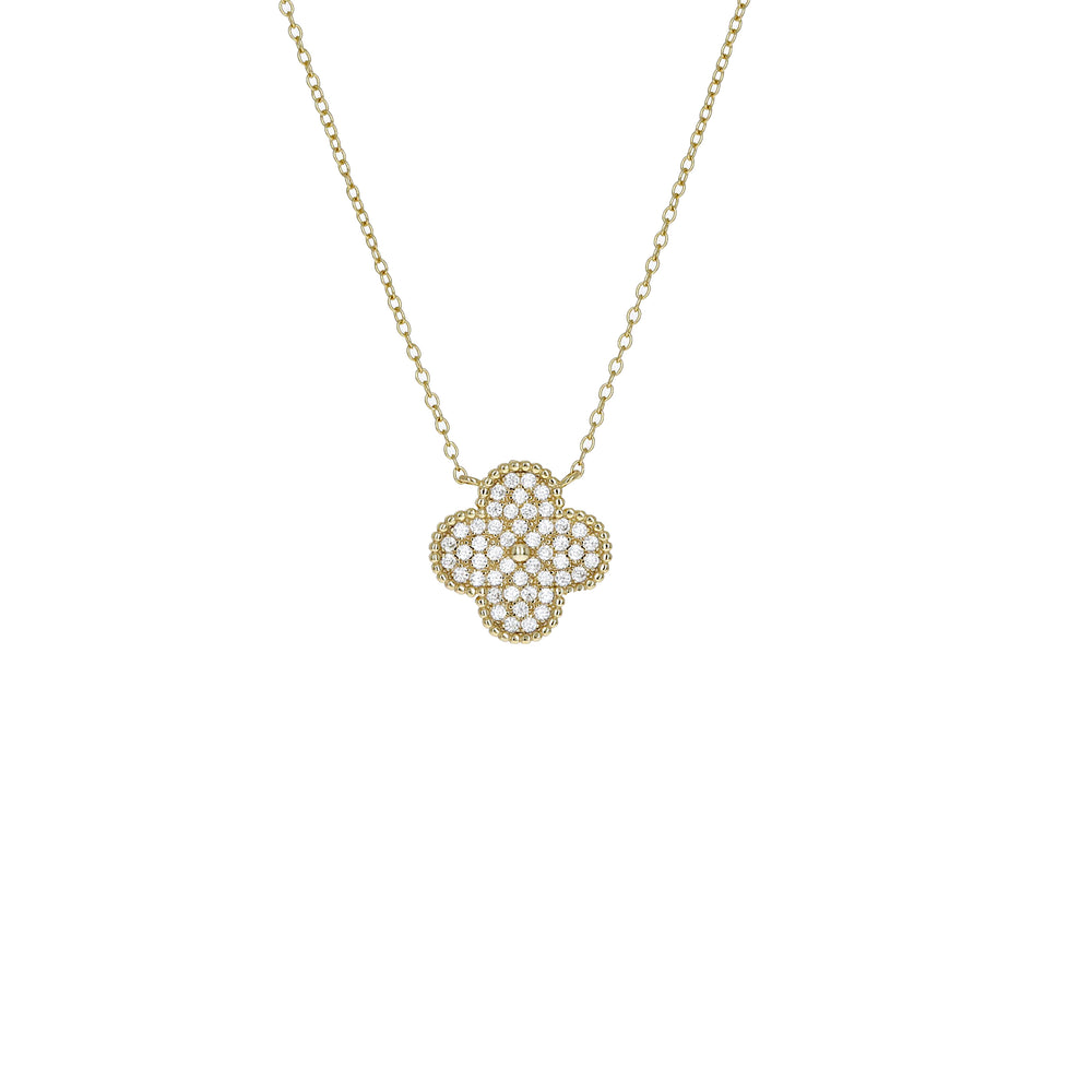 Alexandra Marks - Gold Cz Clover Designer Inspired Necklace