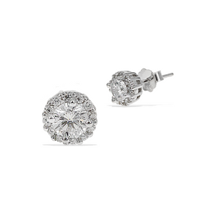 6mm Cubic Zirconia Classic Halo Stud Earring in Sterling Silver