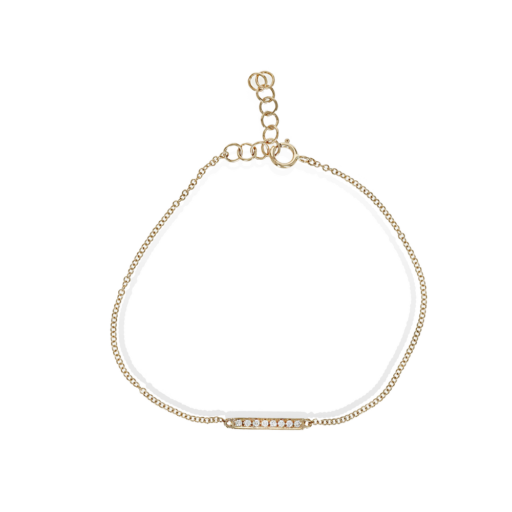 Load image into Gallery viewer, Dainty diamond bar bracelet in gold from Alexandra Marks Jewelry