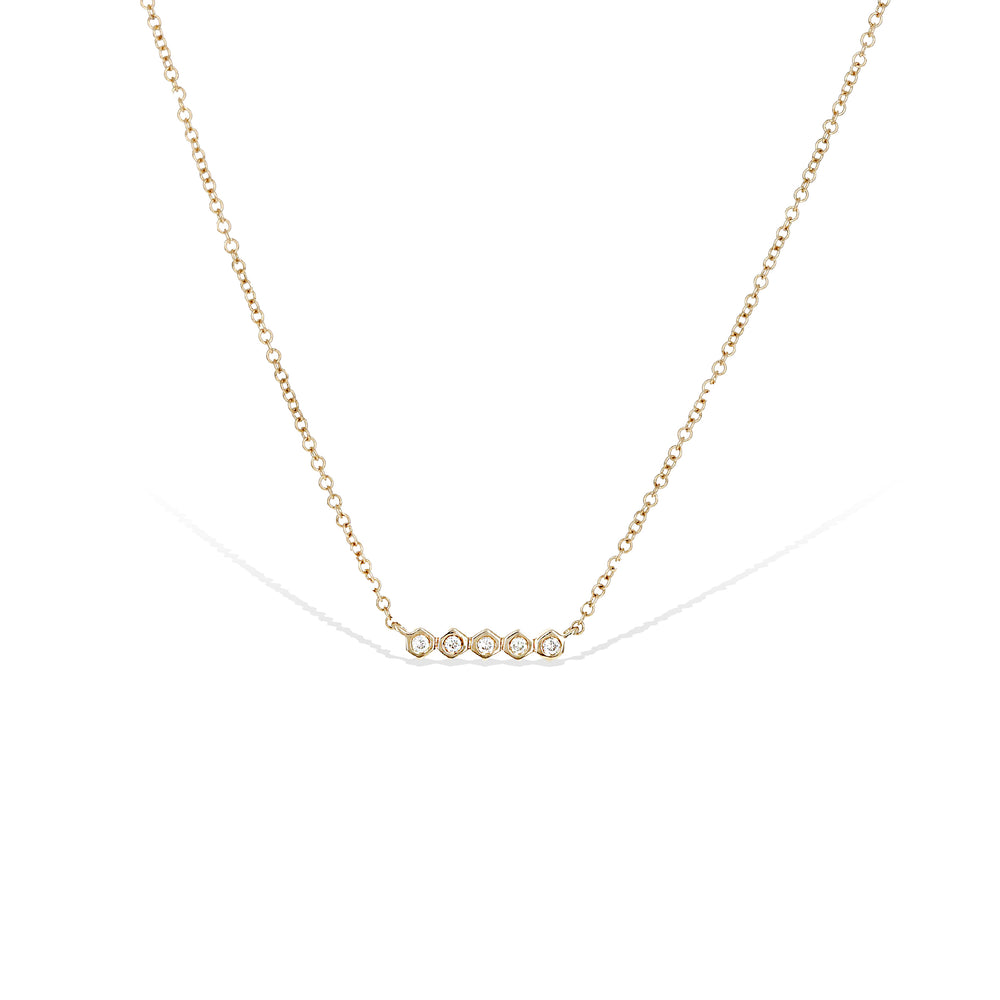 Alexandra Marks - Dainty Diamond Bar Necklace in 14kt Gold