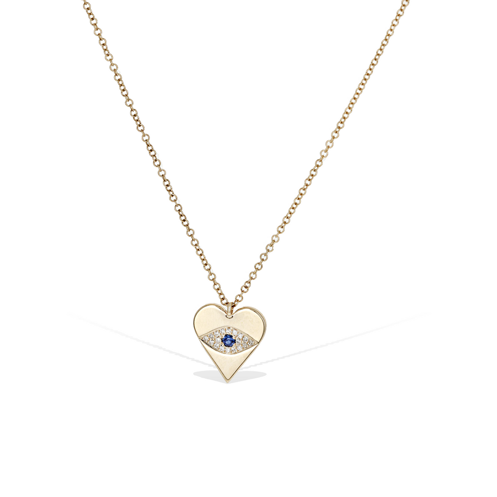 Diamond Evil Eye Heart Necklace in 14kt Yellow Gold from Alexandra Marks Jewelry