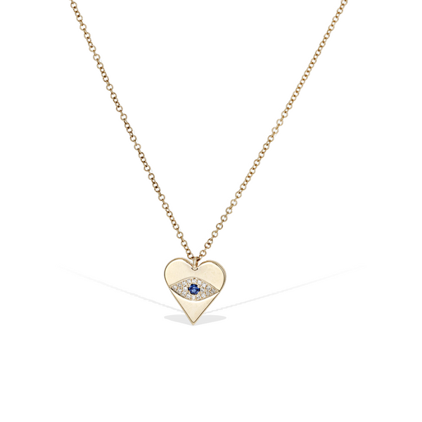 Diamond Evil Eye Heart Necklace