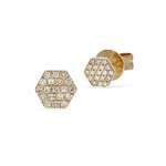 Diamond Hexagon Stud Earrings