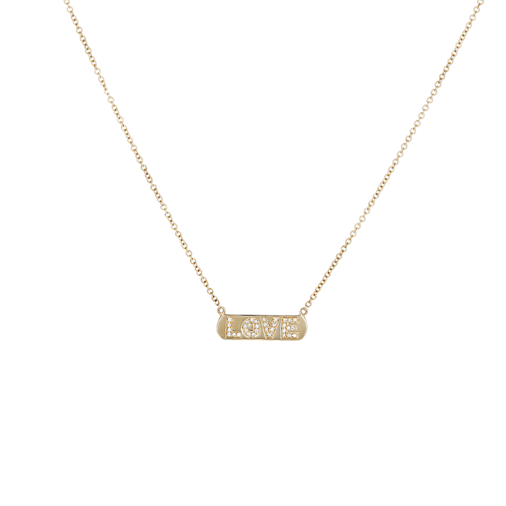 Load image into Gallery viewer, Alexandra Marks | 14kt Gold & Diamond LOVE Bar Necklace
