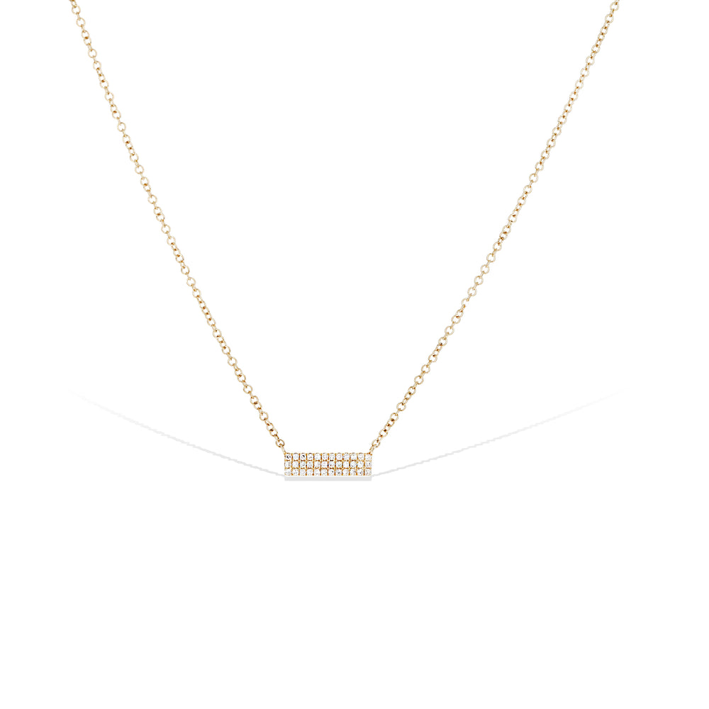 Dainty double row pave' diamond bar necklace, 14kt gold