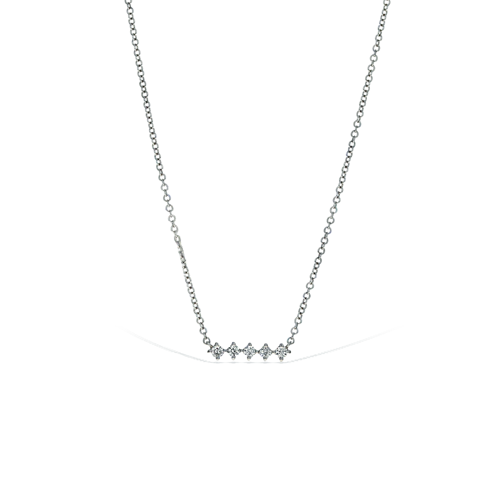 Alexandra Marks | Mini Diamond Bar Necklace in 14kt White Gold