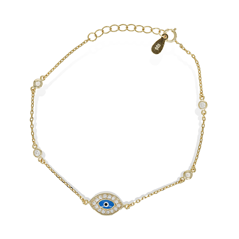 Blue Evil Eye Bracelet in Gold- Alexandra Marks Jewelry