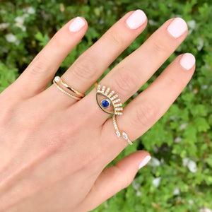Stacking our Gold Evil Eye Ring at Alexandra Marks Jewelry