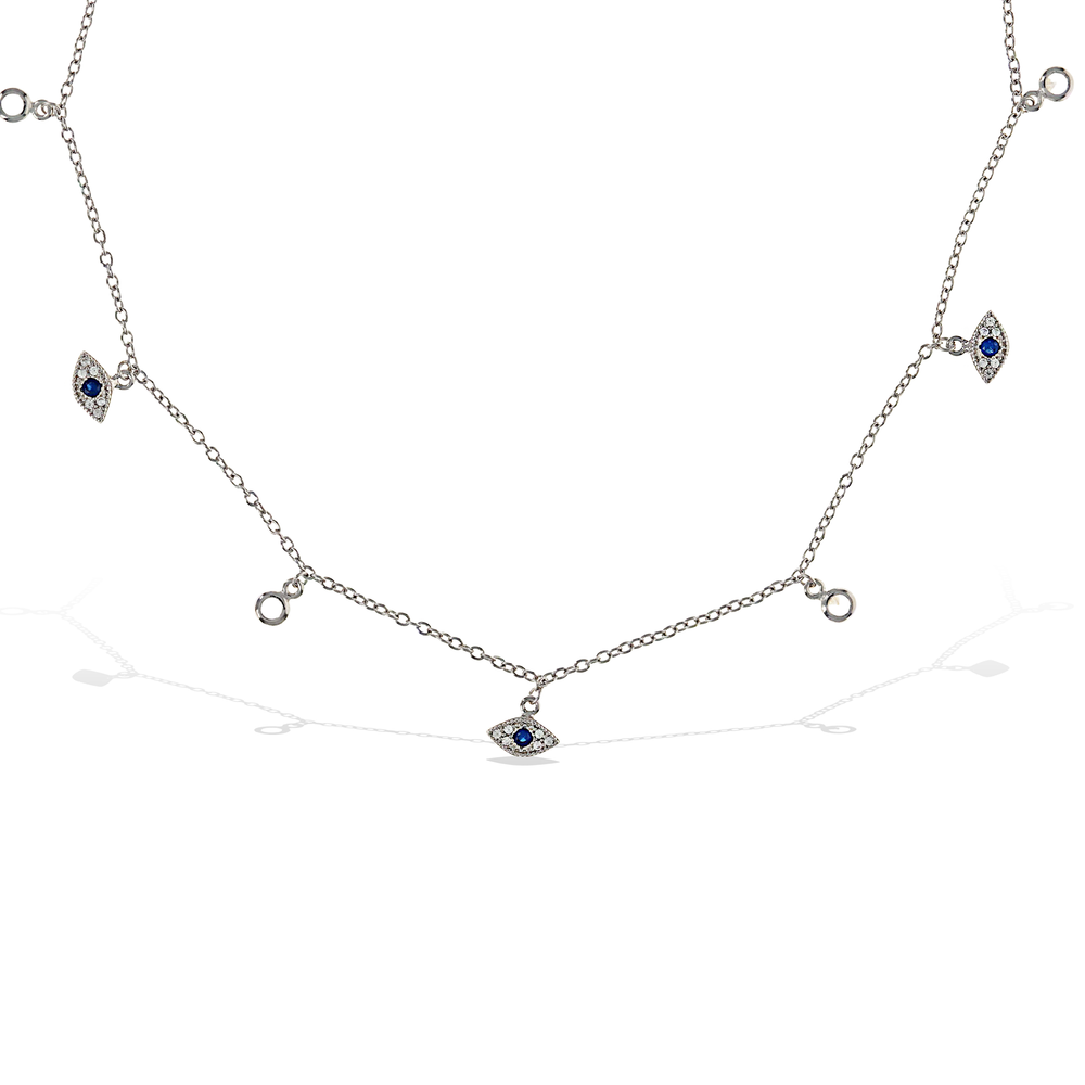 Evil Eye Charm CZ Choker Necklace in Sterling Silver | Alexandra Marks Jewelry