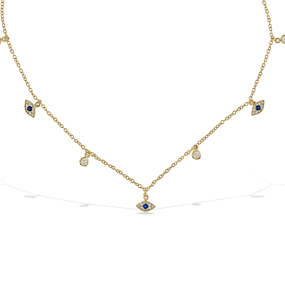 Alexandra Marks | Tiny Evil Eye Charm Cz Choker Necklace in gold plated sterling silver