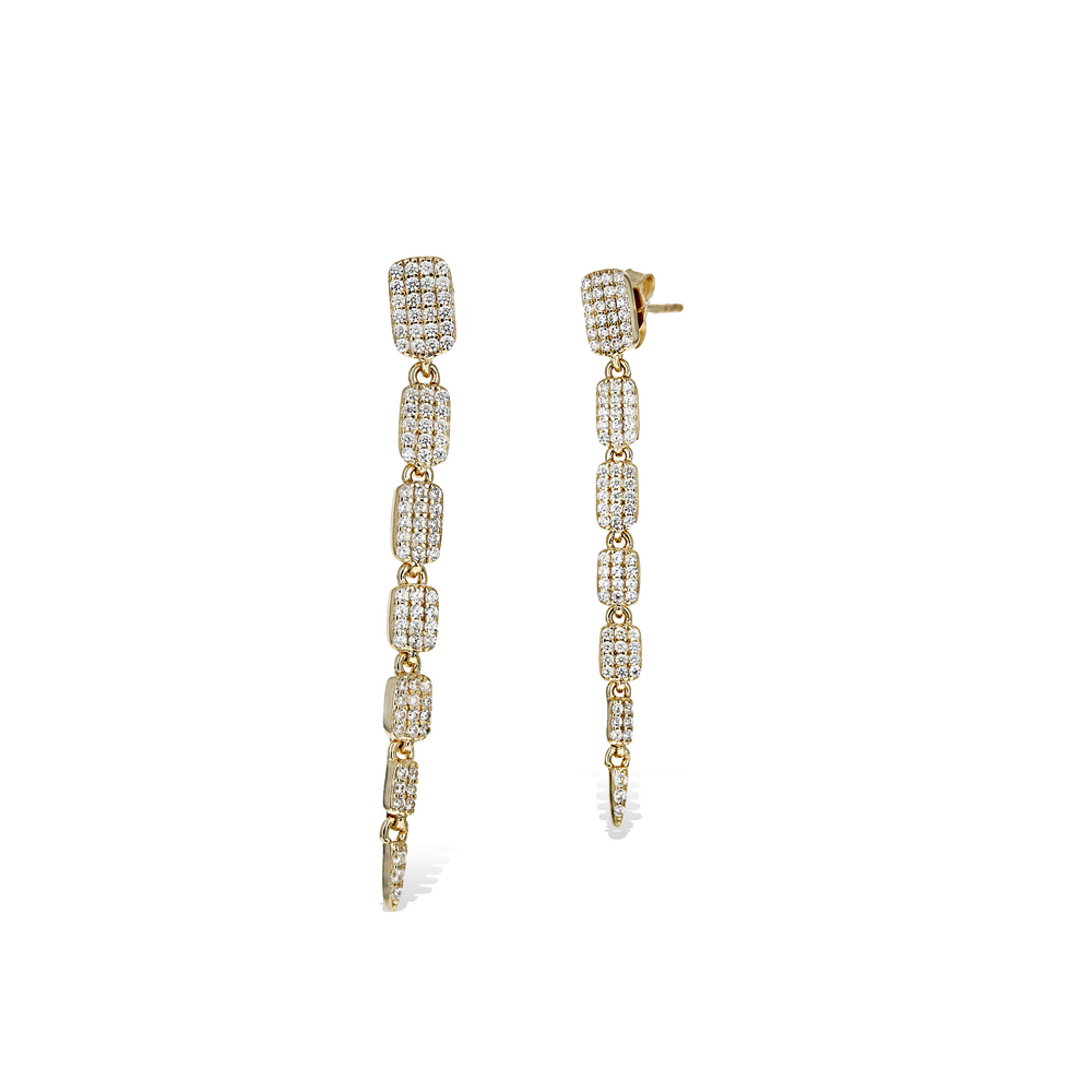 Alexandra Marks | Gold Slithering Rectangle CZ Drop Earrings