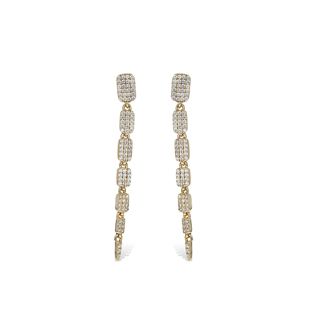 Alexandra Marks | Geometric Pave' CZ Cascading Rectangle Drop Earrings in Gold