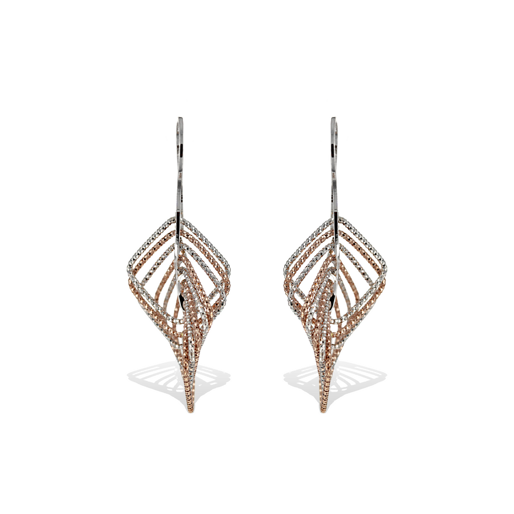 Two-tone Rose Gold and Silver Diamond Cut Drop Earrings - Alexandra marks Jewelry