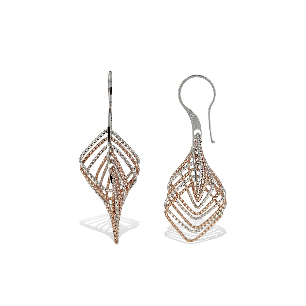 Alexandra Marks | Diamond Cut Square Geometric Drop Earrings