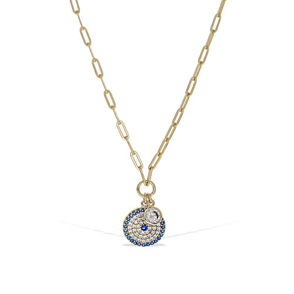 Alexandra Marks Jewelry | Oval Link Gold Chain with Evil Eye Charm Disc