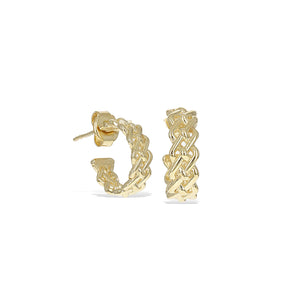 Woven Huggie Hoop Earrings