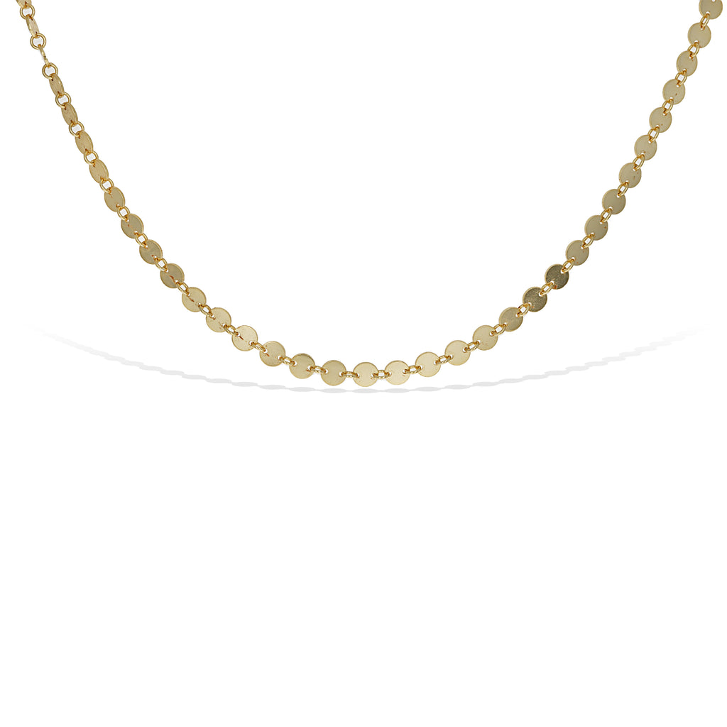 High Polished Gold Plain Disc Choker Necklace