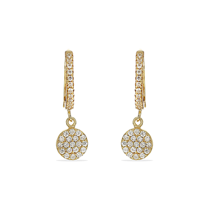 Alexandra Marks | Gold Huggie Hoop Earrings with Pave Cz Disc Charm