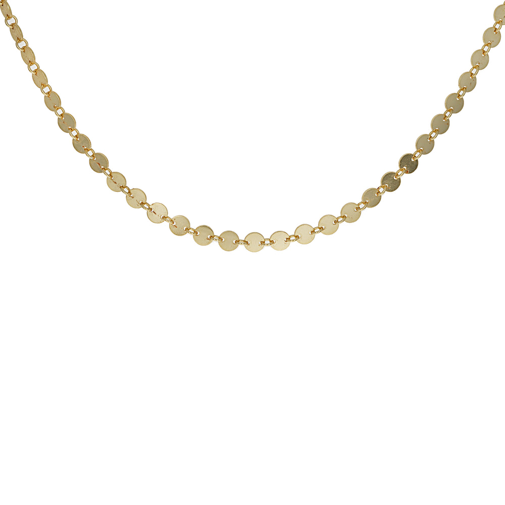 Plain Disc Choker Necklace in Gold Plated Sterling Silver