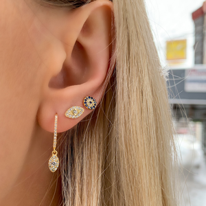 Load image into Gallery viewer, Alexandra Marks wearing the gold marquise cz charm earrings