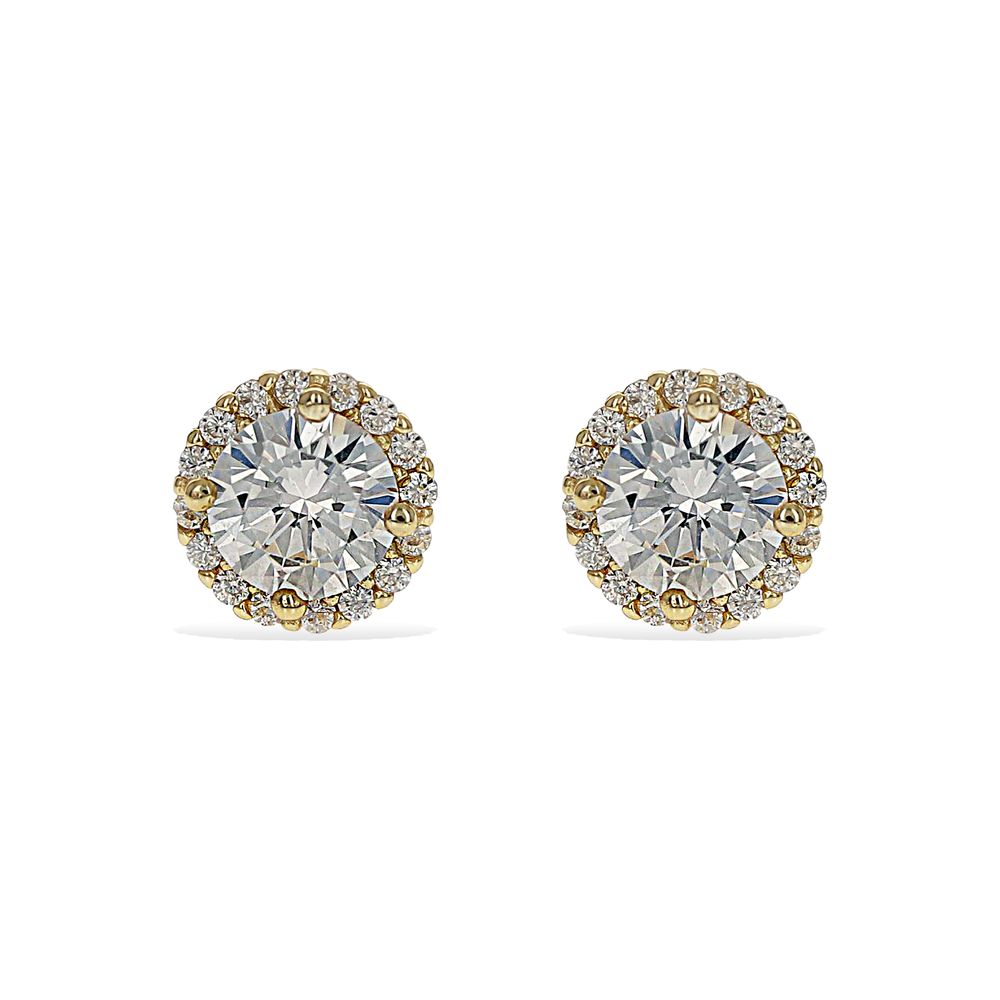 Alexandra Marks | Round CZ Halo Stud Earrings in Gold Plated Silver