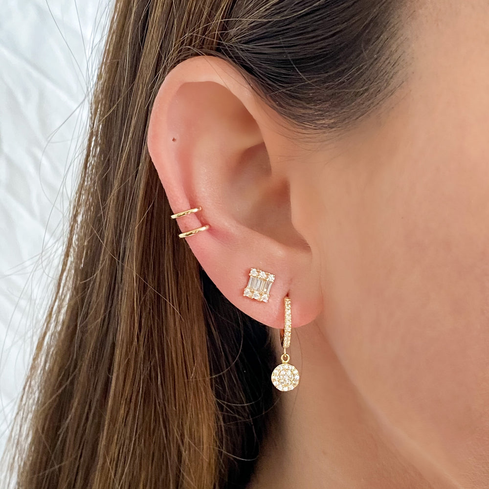 Wearing the gold baguette CZ Stud Earrings from Alexandra Marks Jewelry