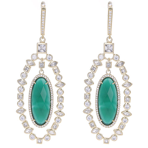 Ornate Green Agate Earrings