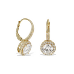 Gold CZ Halo Set Lever Back Bridal Earrings - Alexandra Marks Jewelry