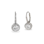 Alexandra Marks | Round CZ Halo Lever Back Silver Earrings