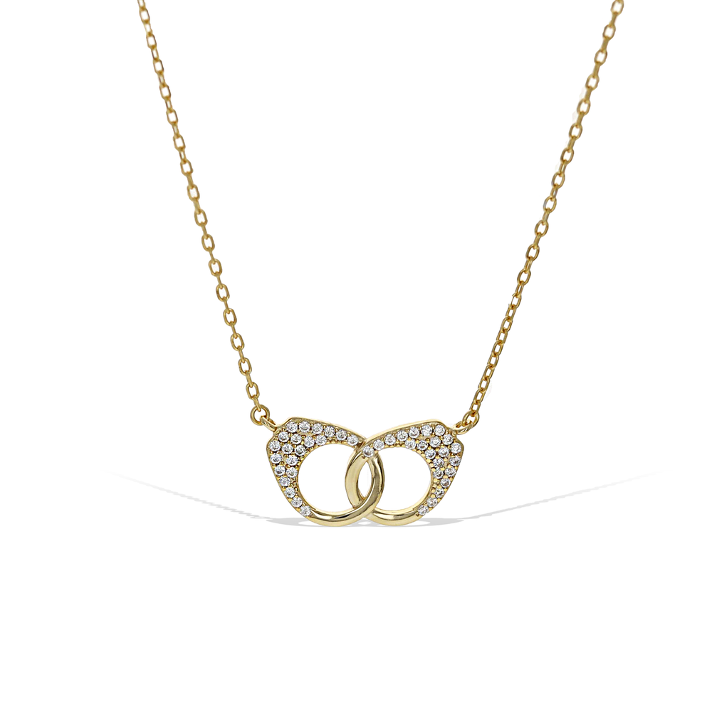 Alexandra Marks Jewelry | Gold Handcuff Necklace with Cz Detail