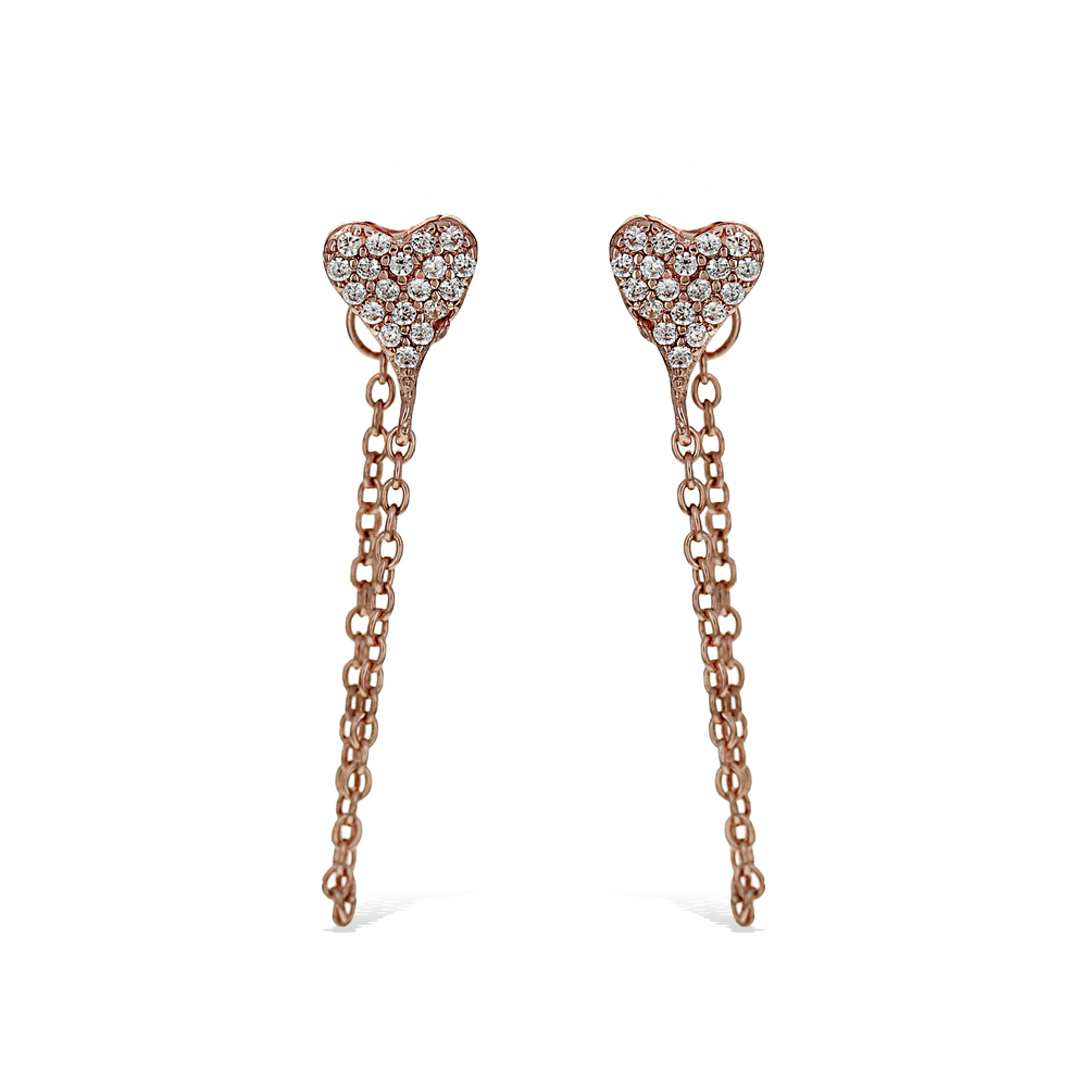 Pointed Smalk Pave' Cz Heart Chain Earrings in Rose - Alexandra Marks Jewelry