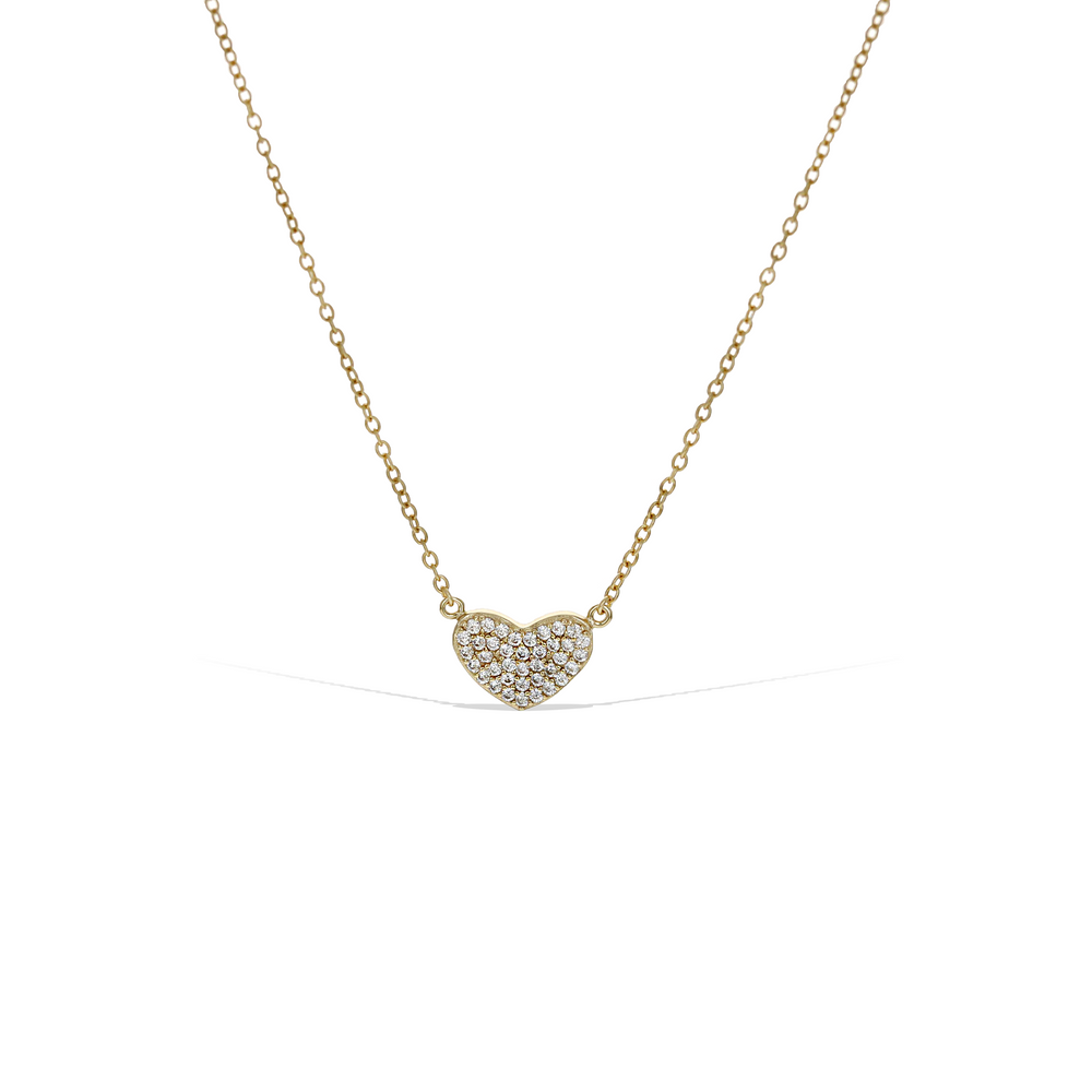 Small Cz Heart Necklace, 18kt Gold Plated Sterling Silver, 18 inches