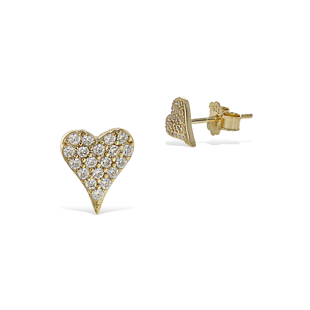 Small Pointed Heart Stud Cz Earrings in Gold - Alexandra Marks