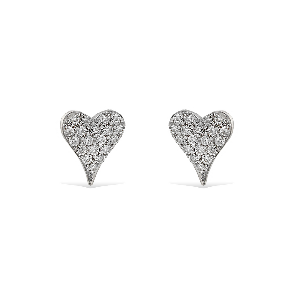 Alexandra Marks | Small Pave' Cz Sterling Silver Heart Stud Earrings
