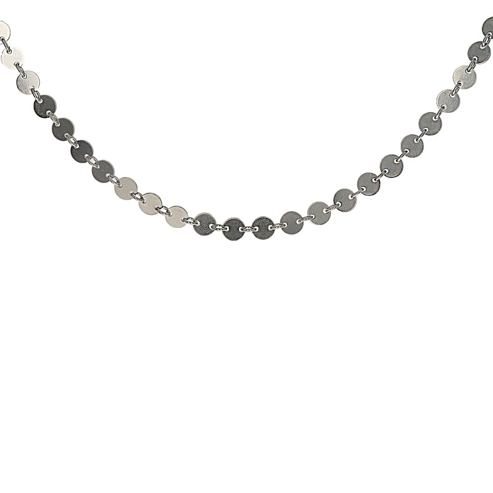 Plain Sterling Silver Disc Necklace 12 inches