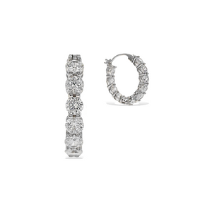 Alexandra Marks | 3ctw Round Cz Inside-Outside Hoop Earrings in Sterling Silver