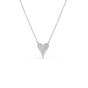 Sterling Silver and Pave' Cz Large Pointed Heart Necklace