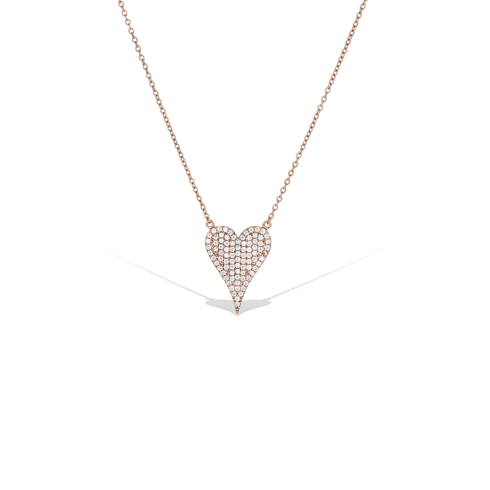 Large Micro Pave' Cz Pointed Heart Necklace, Rose Gold, 18""