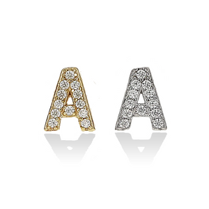 Alexandra Marks | Individual Petite Initial Stud Earrings in Silver & Gold