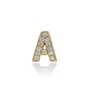 Personalized CZ Letter A Initial Stud Earring in Gold Plated Silver - Alexandra Marks Jewelry