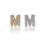 Individual Letter M Single Initial Stud Earrings - Alexandra Marks Jewelry