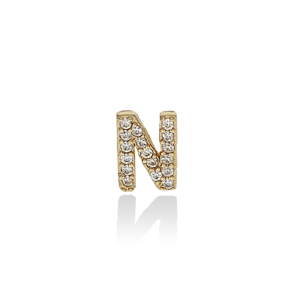 Single Gold CZ Letter N Initial Stud Earring from Alexandra Marks Jewelry
