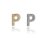 Alexandra Marks Jewelry | Block Letter Mini Letter P Initial Stud Earrings