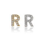 Mini Single Letter R Initial Stud Earrings | Alexandra Marks Jewelry