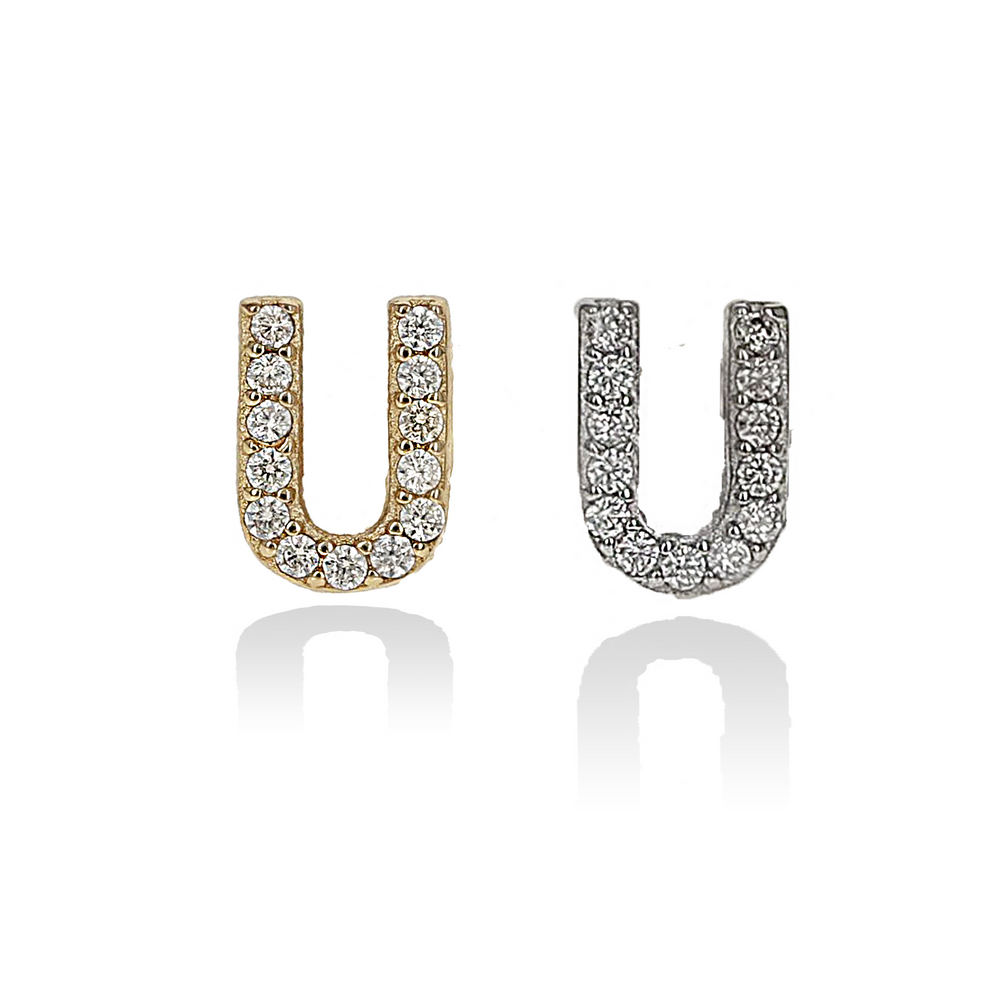 Mini Cz Letter U Initial Stud Earrings, Silver & Gold - Alexandra Marks Jewelry