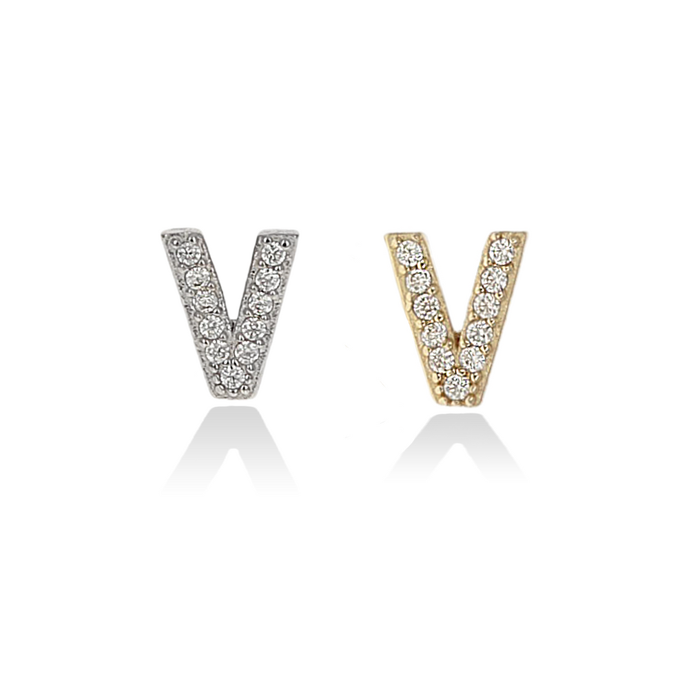 Small Individual Letter V Initial Stud Earrings - Alexandra Marks Jewelry