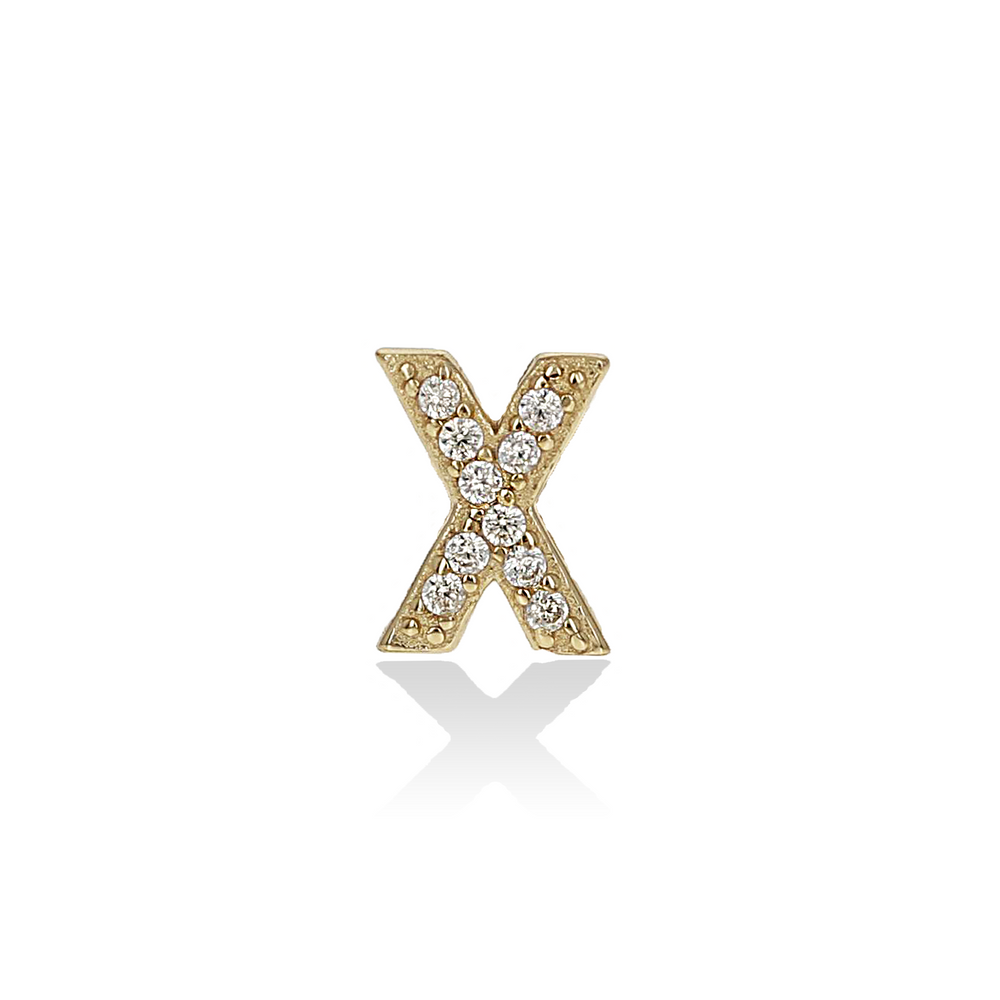 Single Letter X Initial Stud Earring with pave CZ stones from Alexandra Marks Jewelry